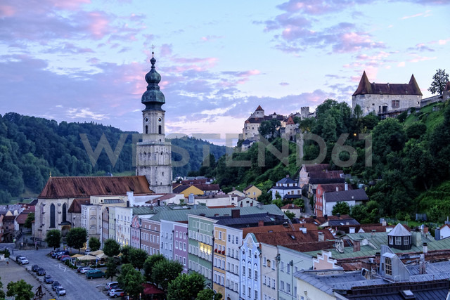 Germany, Burghausen, city view at twilight - HAMF00246