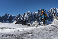 France, Chamonix, Argentiere Glacier, Les Droites, Les Courtes, Aiguille Verte, mountaineer - ALRF00754