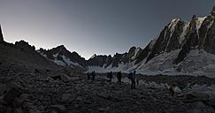 France, Chamonix, Argentiere Glacier, les Droites, Les Courtes, group of mountaineers - ALRF00763