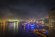 Germany, Hamburg, view to Landing Stages from Elbphilharmonie observation deck at night - NKF00469