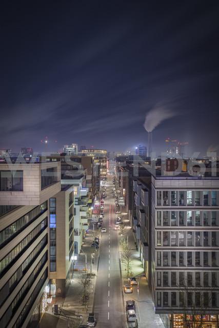 Germany, Hamburg, street at Hafencity at night seen form above - NKF00472