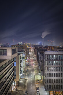 Germany, Hamburg, street at Hafencity at night seen form above - NKF00472