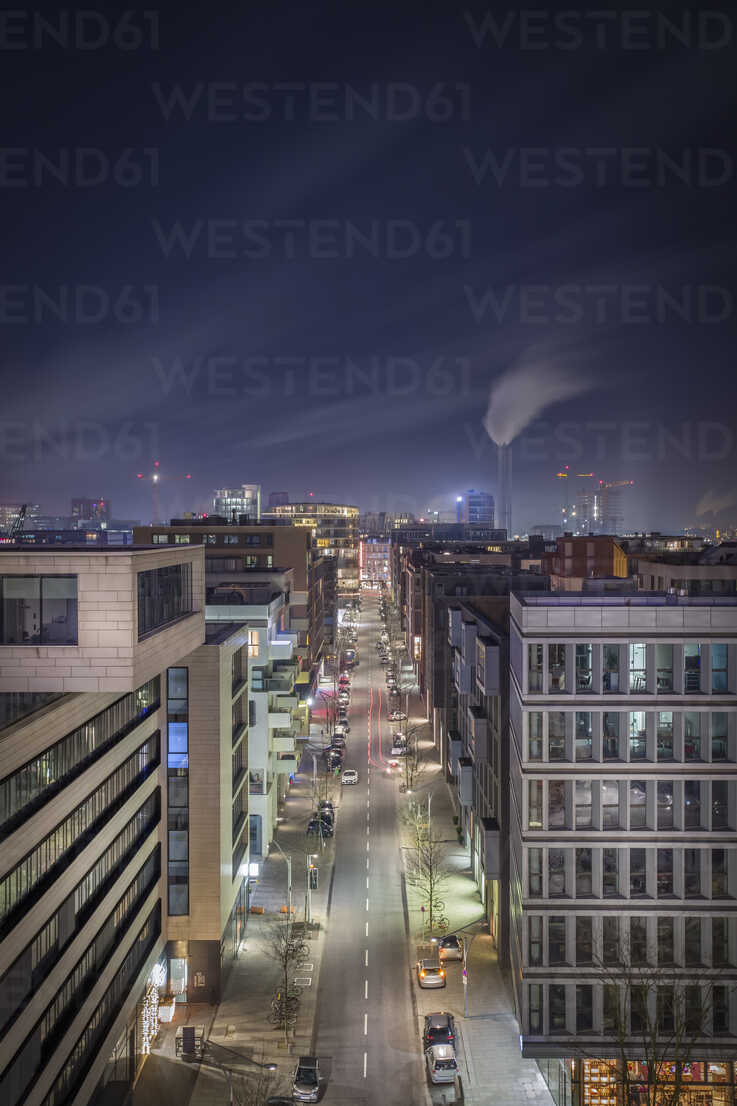 Germany, Hamburg, street at Hafencity at night seen form above - NKF00472 - Stefan Kunert/Westend61