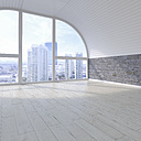 Empty room with view at skyline, 3D Rendering - UWF01085