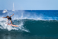 Spain, Tenerife, boy surfing - SIPF01201