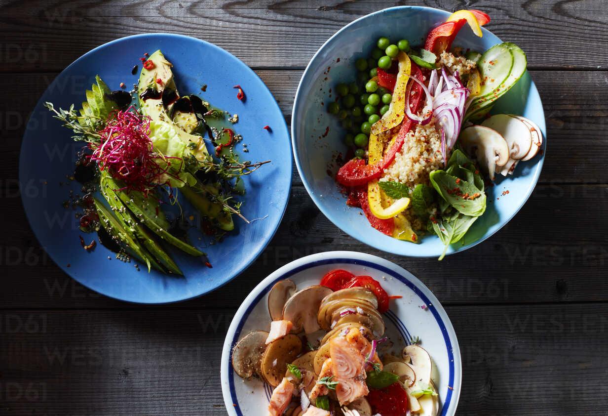 Three bowls of different salads - KSWF01779 - Kai Schwabe/Westend61