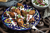 Kibbeh, oriental meat croquettes with yoghurt sauce on plate - SBDF03112
