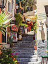 Italy, Sicily, Taormina, staircase at the old town - AM05177