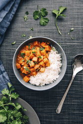Bowl of sweetpotato ragout served with rice - IPF00345