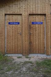 Two wooden toilet doors - AXF00795