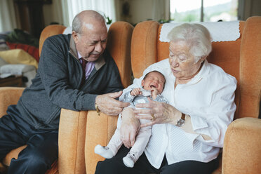 Great grandparents taking care of great granddaughter at home - GEMF01359