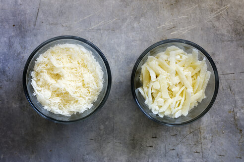 Different grated parmesan in glass bowls - EVGF03119