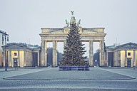 Germany, Berlin, Christmas tree in front of Brandenburg Gate at Pariser Platz - ASCF00676