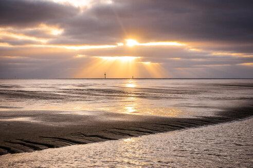 Germany, Lower Saxony, Wremen, tideway at sunset - EGBF00167