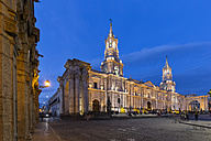 Peru, Arequipa, Plaza de Armas, Cathedral at blue hour - FOF08631