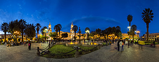 Peru, Arequipa, Plaza de Armas, Cathedral and fountain at blue hour - FO08634