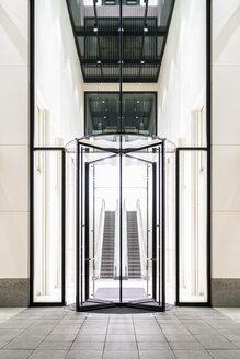 Germany, Frankfurt, lighted entrance of Taunusturm - PUF00578