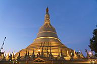 Myanmar, Bago, Shwemawdaw Pagoda at dusk - PCF00305