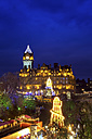 UK, Scotland, Edinburgh, view to lighted Balmoral Hotel at Christmas time - SMAF00657
