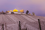Germany, Stuttgart, view to lighted Wurttemberg Mausoleum with snow covered vineyards in the foreground - WDF03858