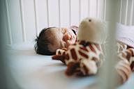 Newborn baby girl sleeping in crib with a plush giraffe - GEMF01378