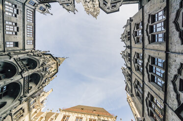 Germany, Munich, facades at town hall square seen from below - THA01893