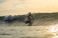 Indonesia, Bali, woman surfing at sunset - KNTF00608