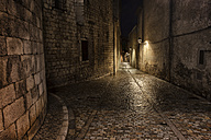 Spain, Girona, Pujada del Rei Marti at night - ABOF00142