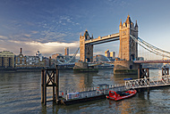 UK, London, River Thames and Tower Bridge as seen from St. Katharine's Pier - GF00944