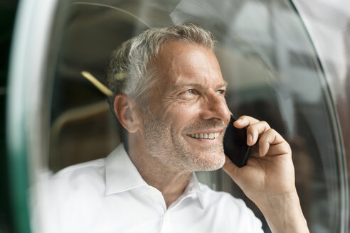 Smiling businessman on cell phone - PESF00428