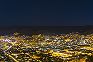 Peru, Andes, Cusco, cityscape as seen from Cristo Blanco Statue at blue hour - FOF08744