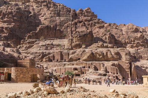 Jordan, Petra, view to rock-cut tombs - MAB00442