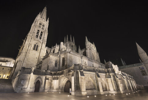 Spain, Burgos, Burgos cathedral at night - DHCF00048