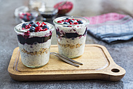Fresh yogurt with blueberries, blueberry jam, pomegranate seeds and chia - SARF03123