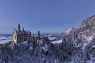 Germany, Bavaria, Neuschwanstein Castle at blue hour in winter - FC01157