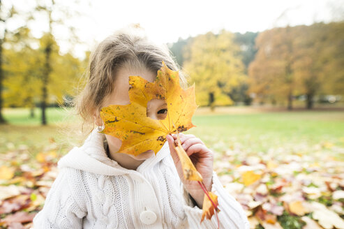 Girl looking through hole in autumn leaf - HAPF01325