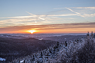 Germany, Saxony-Anhalt, Harz National Park, sunset in winter - PVCF00961