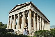 Greece, Athens, tourist visiting The Hephaisteion in the Agora - GEMF01439