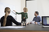 Woman in boardroom leading a presentation - RBF05576