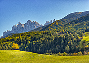 Italy, South Tyrol, Funes Valley, Odle group in autumn - LOMF00472