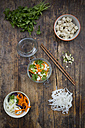 Asian rice noodle soup with vegetables and tofu in jar - LVF05808