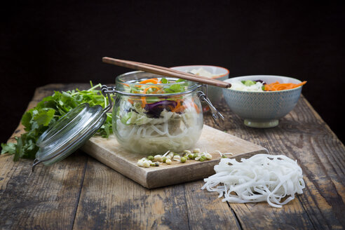 Asian rice noodle soup with vegetables and tofu in jar - LVF05811