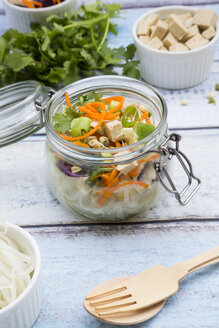 Asian rice noodle soup with vegetables and tofu in jar - LVF05814