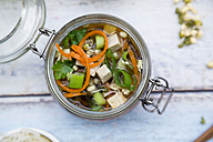 Asian rice noodle soup with vegetables and tofu in jar - LVF05817