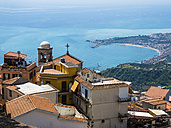 Italy, Sicily, Castelmola, view above the old town to the bay of Giardini Naxos - AMF05225