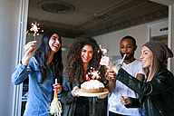Group of young people celebrating birthday - VABF01068