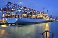 Germany, Hamburg, container ship at terminal in the morning - RJF00652