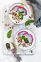 Smoothie bowls with dragon fruit, chia seeds and roasted hazelnuts - SBDF03130