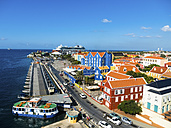 Curacao, Willemstad, Punda, colorful houses at waterfront promenade - AMF05234