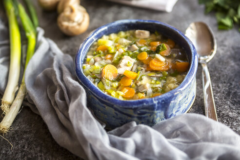 Chicken soup with leek, carrots, noodles, spring onions, champignons and parsley - SARF03171